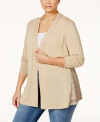 Ny Collection Plus Size Open Front Crochet Inset Cardigan Tan