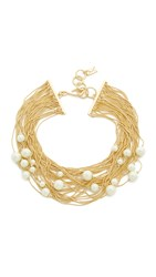 Juliet And Company Floating Imitation Pearl Choker Necklace Gold Ivory