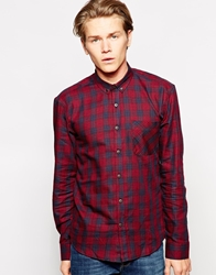 Dansk Shirt With Check And Bias Cut Pocket Red