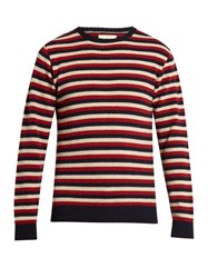 Oliver Spencer Benue Striped Wool Sweater Red Multi