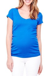 Ingrid And Isabelr Women's Isabel V Neck Short Sleeve Maternity Tee Cobalt Blue