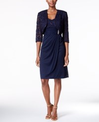 R And M Richards Sequined Lace Faux Wrap Dress Bolero Jacket Navy