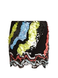 Versace Sequin Embellished Silk Cady Skirt Multi