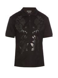 Alexander Mcqueen Floral Print Cotton Pique Polo Shirt Black