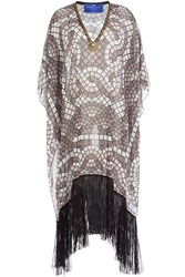 Elena Makri Embellished Print Tunic With Fringe Brown