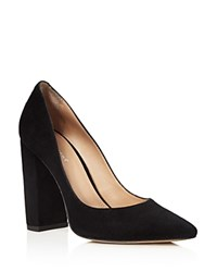 Pour La Victoire Celina Block Heel Pointed Toe Pumps Black