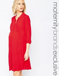 Mama Licious Mamalicious Woven Shirt Dress With Tie Detail Red