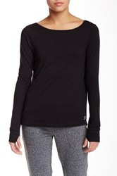 Steve Madden Low Cut Back Long Sleeve Tee Black
