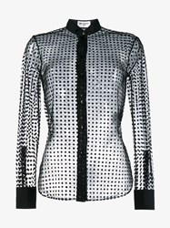Saint Laurent Tulle Flock Polka Dot Print Shirt Black Transparent