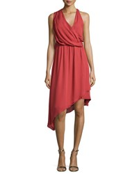 Haute Hippie Sleeveless Asymmetric Silk Dress Red Rose