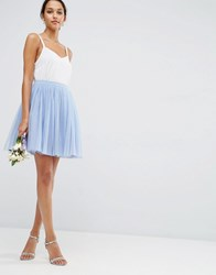 Asos Wedding Tulle Mini Prom Skirt With Multi Layers Blue