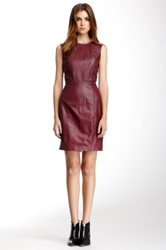 Muubaa Troy Fitted Leather Dress Red
