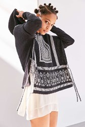 Ecote Patterned Side Tie Poncho Hoodie Sweater Black And White