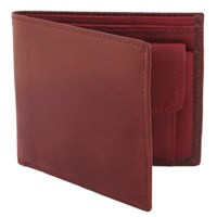 Estados Luxury Leather Mens Coin Pocket Wallet Chocolate Brown And Bordeaux