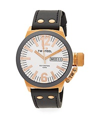 Tw Steel Ceo Canteen Two Tone Chronograph Leather Strap Watch Rose Gold Black