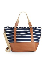 Madden Girl Striped Cotton Tote Navy White