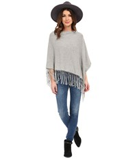 Dylan By True Grit Fringe Sweater Poncho Heather Women's Coat Gray