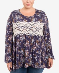 Eyeshadow Trendy Plus Size Printed Top Orange