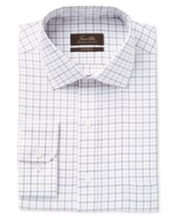 Tasso Elba Men's Classic Fit Non Iron Tan Windowpane Check Dress Shirt Only At Macy's