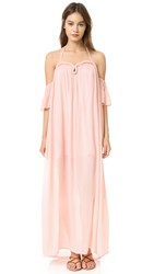 Re Named Crinkle Curve Flutter Sleeve Maxi Dress Blush