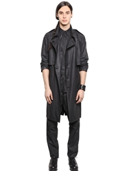 Waxed Cotton Bemberg Trench Coat Black