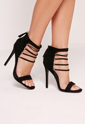 Missguided Strappy Elastic Barely There Heeled Sandals Black Black