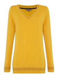 Biba V Neck Sparkle Basic Jumper Mustard