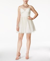 Emerald Sundae Juniors' Glitter Ruched Fit And Flare Party Dress Ivory Gold