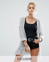 Milk It Vintage Loose Knit Cardigan With Frill Hem And Pockets Grey