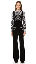 Holly Fulton Crystal Jumpsuit Black White
