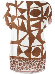 Pierre Louis Mascia Pierre Louis Mascia Mixed Print Blouse Brown