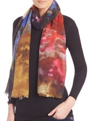 Bindya Cloud Print Cashmere And Silk Scarf Multi