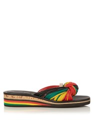 Chloe Knot Detail Leather Flatform Black Multi