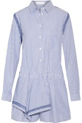 Thakoon Ruffled Striped Cotton Playsuit Blue