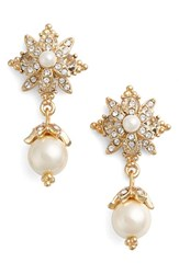Marchesa Women's Faux Pearl And Crystal Drop Earrings