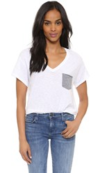 Stateside Supima Slub Pocket V Neck Tee White