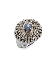 Bavna Diamond Sapphire And Sterling Silver Ring Size 7