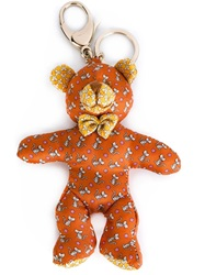 Salvatore Ferragamo Bear Keyring Yellow And Orange