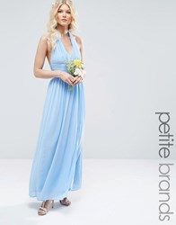 Tfnc Petite Halterneck Chiffon Maxi Dress Blue