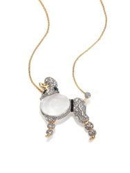 Alexis Bittar Sport Deco Lucite And Crystal Jelly Belly Strolling Poodle Pendant Necklace Gold Silver