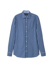Mango Slim Fit Check Cotton Shirt Navy