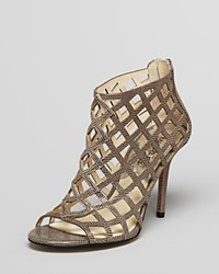 Michael Michael Kors Caged Open Toe Booties Aiden High Heel Nickel