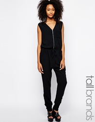 Girls On Film Tall Zip Front Jumpsuit Black