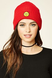 Forever 21 Patch Graphic Beanie Red Yellow