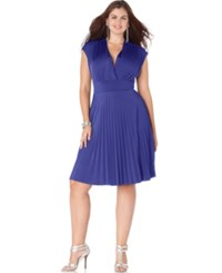 Soprano Plus Size Cap Sleeve Pleated Empire Dress Colbalt
