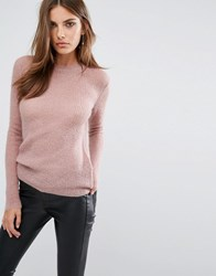 Y.A.S Clovy Crew Neck Jumper In Rose Woodrose Pink