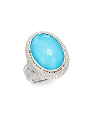 Judith Ripka La Petite Turquoise Crystal Doublet And Sterling Silver Oval Ring
