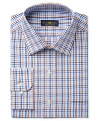 Club Room Estate Men's Big And Tall Classic Fit Wrinkle Resistant Rust Blue Multi Check Dress Shirt Only At Macy's