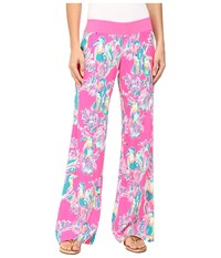 Lilly Pulitzer Seaside Beach Palazzo Pants Dragonfruit Toucan Can Women's Casual Pants Pink