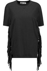 Mcq By Alexander Mcqueen Faux Suede Fringed Cotton T Shirt Black